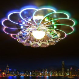 Wholesale 5w Acrylic Ceiling Light - lampshade crystal ceiling light 3W 5W bedroom foyer ceiling light round led home decoration lamps modern acrylic lamp