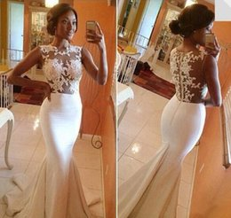 Wholesale Sexy Discount Evening Gown - 2015 Hot Big Discounts Lace Mermaid Prom Dresses Appliques Sheer Crew Nwck Brush Trains Formal Evening Party Celebrity Wedding Gowns BO5688