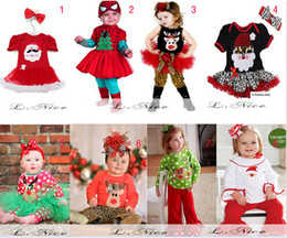 Wholesale Girls Green Skirt Leggings - Baby Girl Little Elves Collection Ornament Tunic Skirt Christmas Set New Tutu Dress Skirt + Pants Leggings Outfit