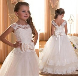 Wholesale Ankle Length Organza Communion Dress - 2016 Cupcake Girls Pageant Gowns Sheer Crew Neck Cap Sleeves Lace Top Princess Flower Communion Girl Dresses with Bow Sash BA1294