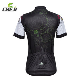Wholesale Tight T Shirts For Women - Wholesale-MTB Mountain Road Bicycle Clothing Cheji Black Green Cycling Jerseys T-shirts 3D GEL Padded Tights Suit Shorts Set For Women