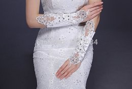 Wholesale Sexy Wedding Gloves - Beautiful Beaded lace Bridal gloves sparkling diamond For wedding sexy transparent long Women Lady Wear gloves Free Shipping