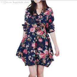 Wholesale Dress Clothes For Gravida - Wholesale-Dress Maternity Plus Size Print V-neck LooseLong-sleeve Vestido Para Gravida 2015 Clothing For Pregnant Women Pregnancy Clothes