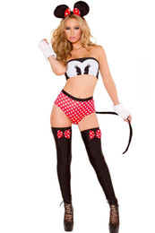Wholesale Minnie Red Ears - 5pcs Christmas Red Sexy Minnie Mouse Costume Adult Halloween Party Cosplay Costume Clothing +Shorts+Tube Top+Ear Band+Gloves+Stockings Q8955