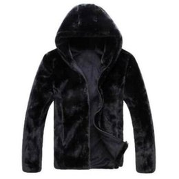 Wholesale Black Rabbit Coats - Wholesale- Hot sell 2016 new winter faux fur coat Men black warm fashion Soft and comfortable rabbit fur thick hooded jacket male fur coat