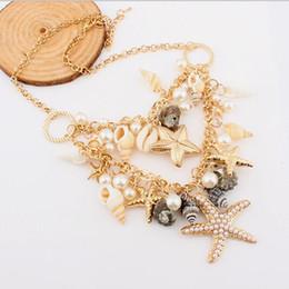 Wholesale Fashion Necklaces Seashells - Wholesale-55Amorous feelings of fashion temperament beach charm seashells starfish imitation pearl necklace fashion statement necklace