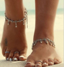 Wholesale Face Sandal - New Vintage Carve Designer Anklet Women Bridal Luxury Barefoot Sandals Ankle Bracelet Chain Antique Silver Jewelry Sandbeach Wedding Gift