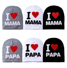 Wholesale I Love Papa Kids - 60 pcs 2015 New Baby's hat Cotton Knitted Warm Beanie Hat for Toddler Baby hat Kids Girl Boy cap I LOVE PAPA MAMA print baby cap