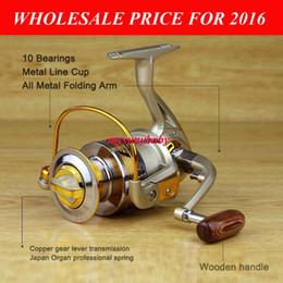 Wholesale Spinning Reel Painting - 2016 HOT Fishing Spinning Reel EF1000-7000 10BB Metal Spool Painting Line Cup Fishing Reel Wood handle