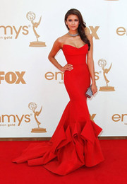 Wholesale Nina Dobrev Dresses - Hot Fashion Nina Dobrev Dress Red Strapless Prom Evening Formal Dresses Plus Size Custom Made Sweetheart Backless Emmy Awards Celebrity
