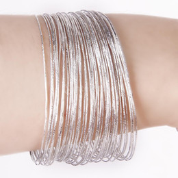 Wholesale Hoops Bulk - New 2015 Brand New Bulk 50Pcs Fashion Silver Ultra Thin Hoop Bracelet Cuff Bangle Wristband Free Shipping
