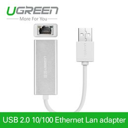 Wholesale Usb Lan Tv Card - Ugreen USB 2.0 to RJ45 Lan Network Ethernet Adapter Card For Mac OS Android Tablet pc Laptop Smart TV Win 7 8 XP at 10 100Mbps