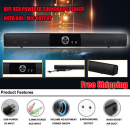 Wholesale Pc Sound Bar - Wholesale-POWERFUL USB MINI SOUNDBAR   SOUND BAR , HIFI USB POWERED SOUNDBAR SPEAKER FOR COMPUTER  PC  LAPTOP TABLETS  SMALL TV ETC