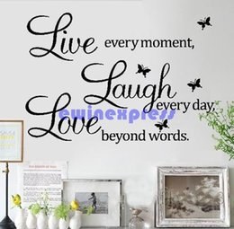 Wholesale Live Laugh Love Quotes - Removable LIVE LAUGH LOVE Wall Quote Stickers Butterfly Vinyl Decal Home Decor New Good Quality Freeship Hot sale