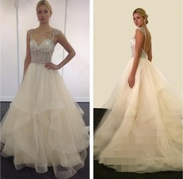Wholesale Eve Milady Dresses - 2015 Eve Of Milady Backless Crystals Wedding Dresses Spaghetti Ball Gown Tulle Wedding Gowns Luxurious Bridal Dresses