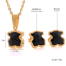 Wholesale indian style gold necklaces - New Panda style Fashion stainless steel black agate charms pendants women 18k gold bears jewelry necklace earring set