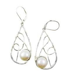 Wholesale Favorite Design - Pure freshwater pearls drop earrings in 925 silver charming lady favorite simple plain design for E3056F.