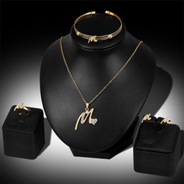 Wholesale Jade Engagement Ring Gold - 4PC Set New Design Romantic I Love You Heart Crystal Jewelry Set Gold Color Pendant Necklace Earrings Bracelet Rings Bijoux