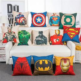 Wholesale Batman Pillow Cases - Avengers Pillow Case Cartoon PillowCase Superman Batman Wade Printed Cushion Cover Cotton Linen Pillow Cover Home Textiles Xmas Gift IA917