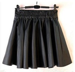 Wholesale High Waist Skirt Korean - New 2016 Korean Fashion Black PU Leather Skirt Women Vintage High Waist Pleated Skirt Free Shipping Female Short Skirts S M LXL