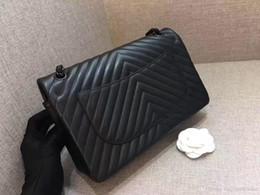 Wholesale Grey Chevron Bag - 2017 famous brand new Women handbag maxi plaid vintage chain bag deerskin luxury handbags women bags classic lambskin chevron shoulder bag