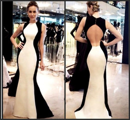 Wholesale Tassel Pearl Mother - Cheap Mother Dresses With Hollow Back And Button Crew Mermaid Prom Dress Floor Length Elastic Satin Black And White Evening Party Gowns