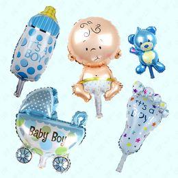 Wholesale Boy Baby Shower Set - Wholesale-Hot angel baby boy balloon baby shower   Stroller balon baby feet foil baloons baby foot balao for newborn party decor 5pcs set