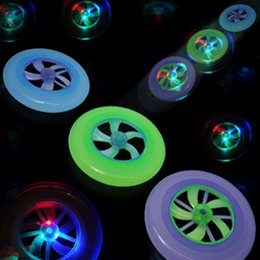 Wholesale Ufo Led Disc - 2015 New Speical Colorful Fashion Hot Spin LED Light Magic Outdoor Toy Flying Saucer Disc Frisbee UFO Kid Toy Christmas gift
