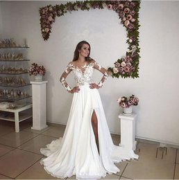 Wholesale Plus Size Romantic Wedding Dresses - Romantic Illusion Long Sleeves Wedding Dresses Split Summer Bohemian 2018 New Sheer Appliqued Long Bridal Gowns Plus Size Maternity