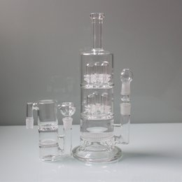 Wholesale Shower Head Water Filters - Cheap Glass Bong Oil Rigs 3Layer 6 Shower Head Honeycomb Birdcage Recycler Water Pipe Birdcage Filter Perc Ash Catcher with Free Accessories
