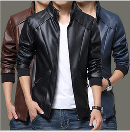 Wholesale Stand For Jackets - Spring Autumn Winter Men PU Leather Jackets For Men Motorcycle Jackets For Men Solid Casual Zipper Long Sleeve coat