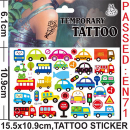 Wholesale Stickers Tattoos For Kids - Wholesale- New Design Tattoo Lovely Cars Cartoon Temporary Tattoos Sticker for Kids Birthday Party Decoration Supplies