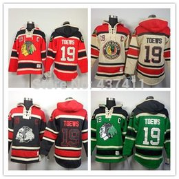 2015New Chicago Blackhawks Hoodies Jerseys # 19 Jonathan Toews Velho Tempo Hóquei Hoodies Moletons Preto Crânio Verde Vermelho Bege M- supplier chicago blackhawks skull jerseys de Fornecedores de chicago blackhawks crânio jérseis