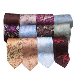Wholesale Birthday Party Business - Creative Lucky Dragon Designs Neckties Chinese style High End Natural GENUINE Silk Brocade Men standard Ties for Banquet Party Birthday