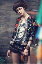 Wholesale Ladies Elegant Jackets - Wholesale-2015 Elegant ladies floral jacket Chaquetas Mujer Embroidery women coat basic jackets Vintage Print jaquetas casaco feminino