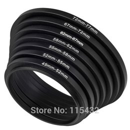 Wholesale Ring 49 52 - Set 7pcs Metal Step Up Rings Adapter Filter Size Set 49 52 55 58 62 67 72 77 for customer-made