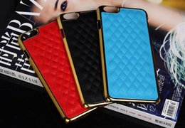 Wholesale Iphone Linear Case - iPhone6 Luxury Gold Edge PU Leather Sheep Grid Pattern Hard Plastic PC PC Plating Linear EX Case For iPhone 5 5S 6 6S Plus 6Plus