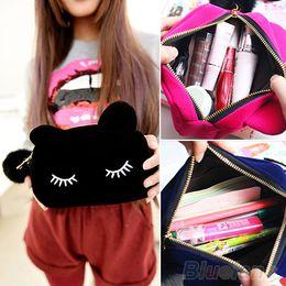 Wholesale Cat Storage Bag - Wholesale-Portable Cartoon Cat Coin Storage Case Travel Makeup Flannel Pouch Cosmetic Bag 4N98