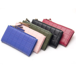 Wholesale Girls Red Checked Dresses - Long Women Wallet New Fashion Stereoscopic Square Tassel Wallets Embossed Coin Bag Female Clutch Double Check Zipper Girl Student Purse Gift