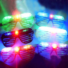 Wholesale Novelty Led Glasses - Blinking LED Shutter Eye glasses Party Light Up Flashing Novelty Gift LED Flashing Light Up Glasses Halloween toy Christmas Party supply