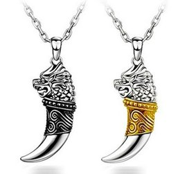 Wholesale 925 Silver Dragon Necklace - Dragon Totem wolf tooth 925 sterling silver pendant Charms men fashion Necklace Pendant Titanium silver jewelry