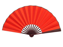 "Wholesale Chinese Dancing Costumes - 10"" 8"" Large Pure Red Dance Show Props Hand Fans DIY Program Chinese Silk Folding Fan 10pcs lot Free shipping"