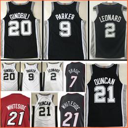 Wholesale Top Sale Cheap Jerseys - 2017-2018 New #21 Tim Duncan 2 Kawhi Leonard jersey 17-18 Top Men 20 Manu Ginobili 9 Tony Parker jerseys Cheap sales