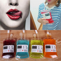 Wholesale Reusable Plastic Drinking Straws - 350ml Blood Juice Energy Drink Bag Halloween event Party supplies Pouch Props Vampires Reusable Package Bags c258