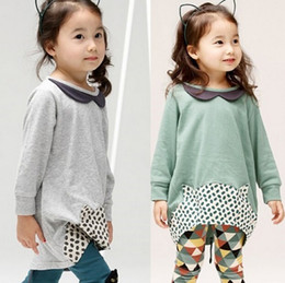 Wholesale Casual Check Shirt Girl - PrettyBaby Casual clothes Autumn baby girl doll collar dress long sleeve T shirt diamond check Legging Clothing Set kids outfit set in stock