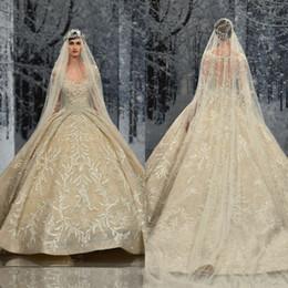 Ziad Nakad Vintage robes de mariée balayage train dentelle appliques paillettes perles à manches longues robes de mariée creux plus la robe de mariée de taille ? partir de fabricateur