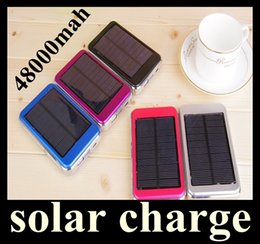 Wholesale Cell Phone Charger Battery Pack - Dual USB Charging Ports 5V 2.1A 1.5W Solar Panel Charger 48000mAh Travel Power Pack Battery power bank for iPhone Samsung HTC ipad