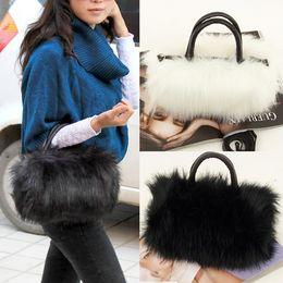 2019 корейские сумки для женщин Wholesale-Fashion Women's Korean Style PU Leather & Faux Fur Tote Clutch Shoulder Bag Faux Fur Handbag Women Leather Handbags дешево корейские сумки для женщин