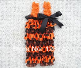Wholesale Satin Petti Rompers - Wholesale-baby rompers halloween flowery satin rompers with straps and big ribbon bow Satin Romper,Cute Girly Lace Petti Romper 3pcs lot