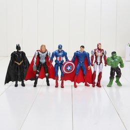 Wholesale Hulk 11 - 6pcs set 8-10cm Super Hero The Avengers action figure set Toys Spiderman Captain America Hulk